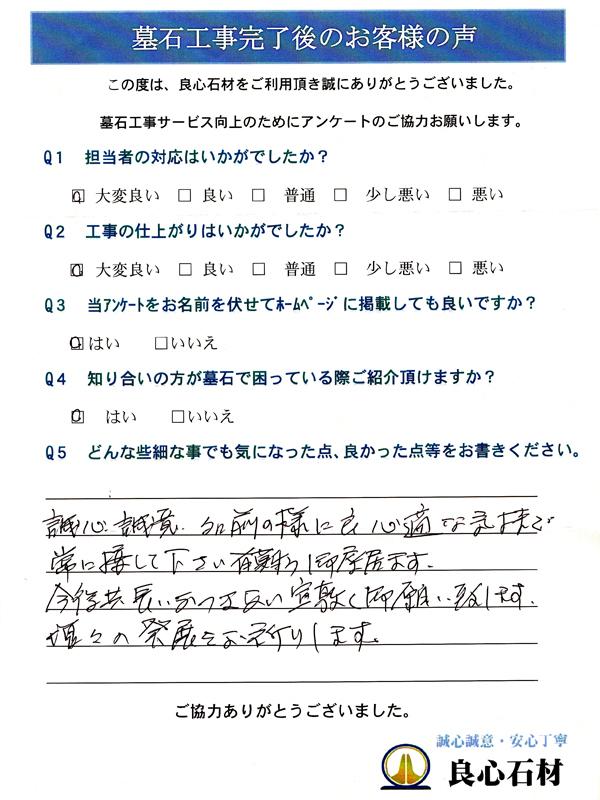 墓所リフォーム工事・髙仲様