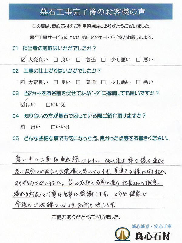墓所リフォーム工事・船田様